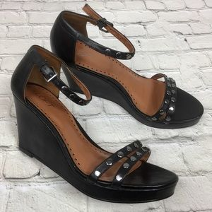 Ann Taylor LOFT black leather wedge sandals Sz 10